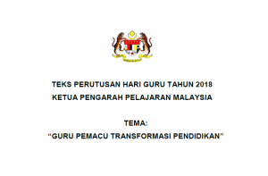 Teks Perutusan Hari Guru 2018 Oleh Ketua Pengarah Pelajaran Malaysia