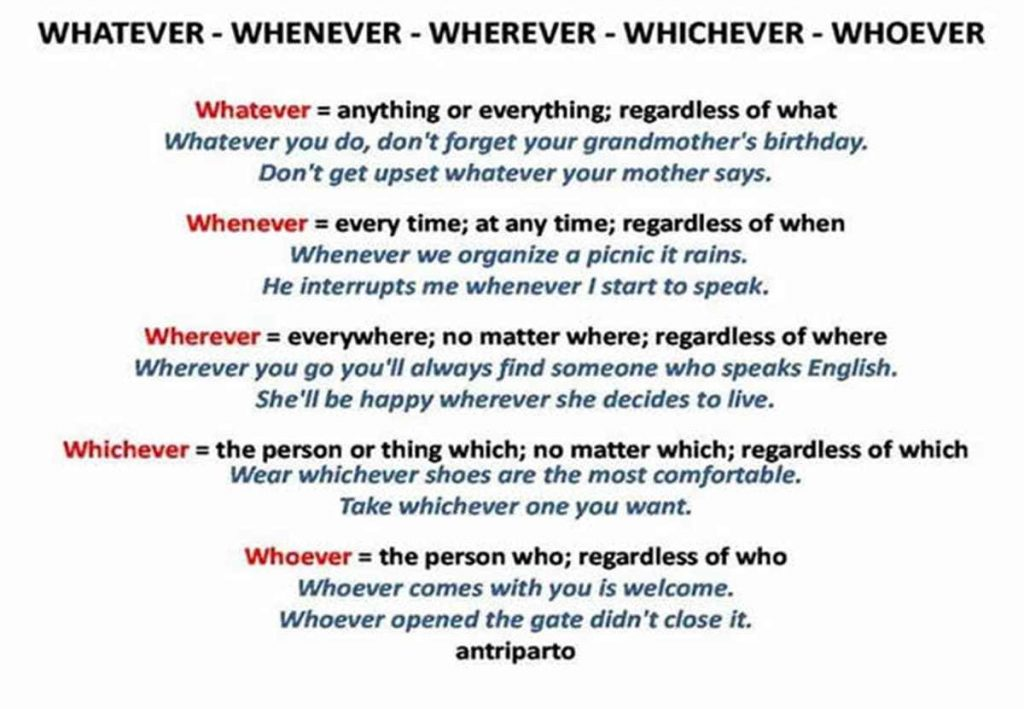 WHATEVER – WHENEVER – WHEREVER – WHICHEVER – WHOEVER