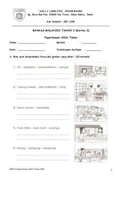 contoh kertas peperiksaan bahasa malaysia tahun 3 kertas 2