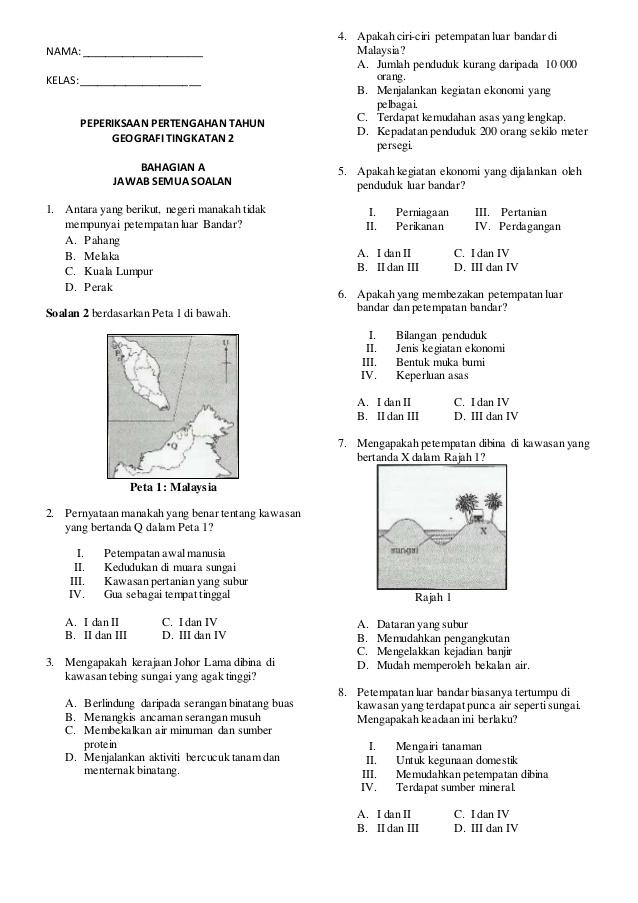 peperiksaan pertengahan tahun geografi tingkatan 2 bahagian a jawab
