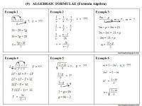 Latihan Matematik Tingkatan 2 Terbaik 9 formula Algebra Algebraic formulae Chegu Zam