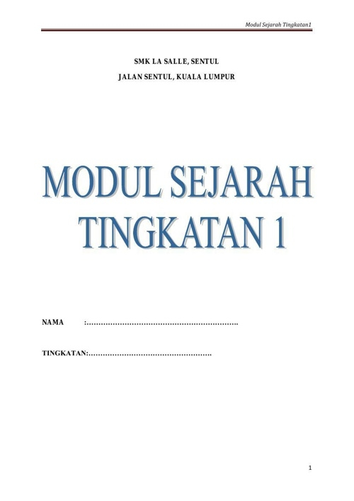 modul sejarah t1 bab 1 sampai 11 latihan tingkatan 1 1 by faizah flipsnack