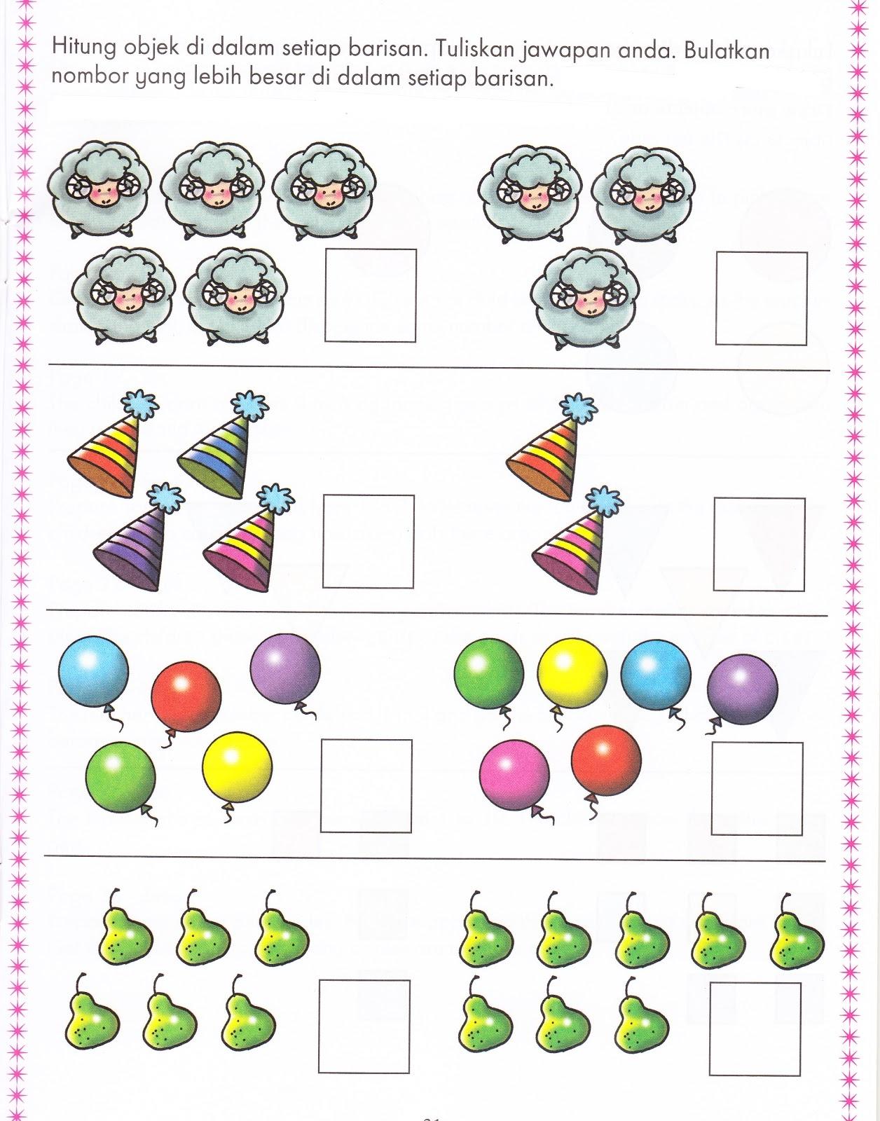 di sini saya ingin berkongsi sedikit lembaran kerja yang telah saya cari dari modul pengajaran dan pembelajaran matematik kssr tahun 1