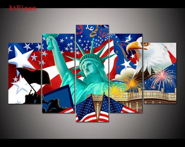 lukisan di dinding patung liberty kemerdekaan atfipan modular modern gambar dinding untuk ruang tamu dibingkai poster