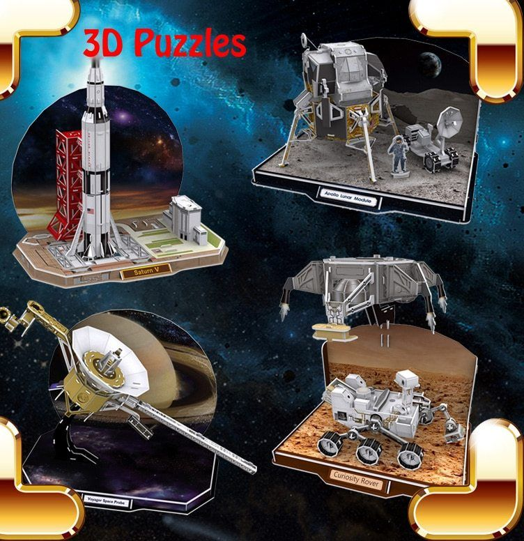 hadiah tahun baru appollo spaceflight aparat 3d teka teki diy iq permainan anak anak buatan tangan dekorasi rumah mainan anak anak pendidikan alat