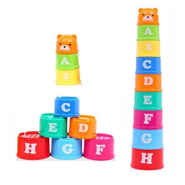 8 pcs pendidikan mainan bayi 6 bulan angka huruf foldind stack cup menara anak awal