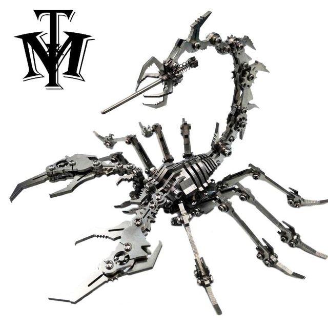 robot serangga kalajengking stainless steel logam 3d diy model kit teka teki anak anak