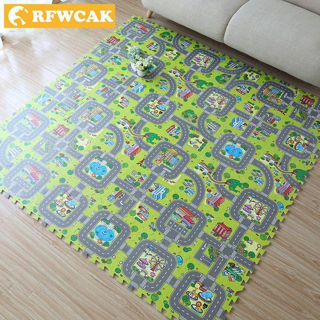 rfwcak mainan untuk anak anak rugs teka teki lalu lintas route mats bayi merayap
