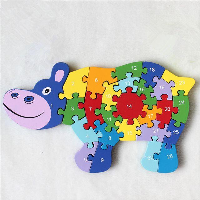 3d puzzle mainan anak kayu kuda dan hippo anak huruf bahasa inggris dan angka belajar pendidikan