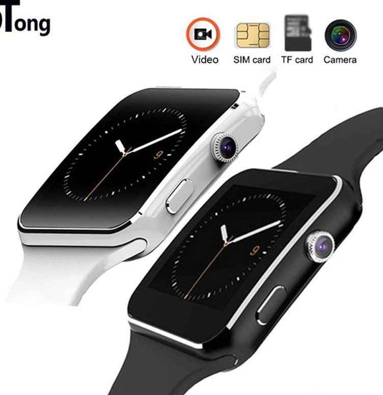 x6 bluetooth pintar jam tangan olahraga jam tangan untuk iphone android ponsel dengan kamera mendukung sim kartu arloji pk gt08 a1 dz09 c0