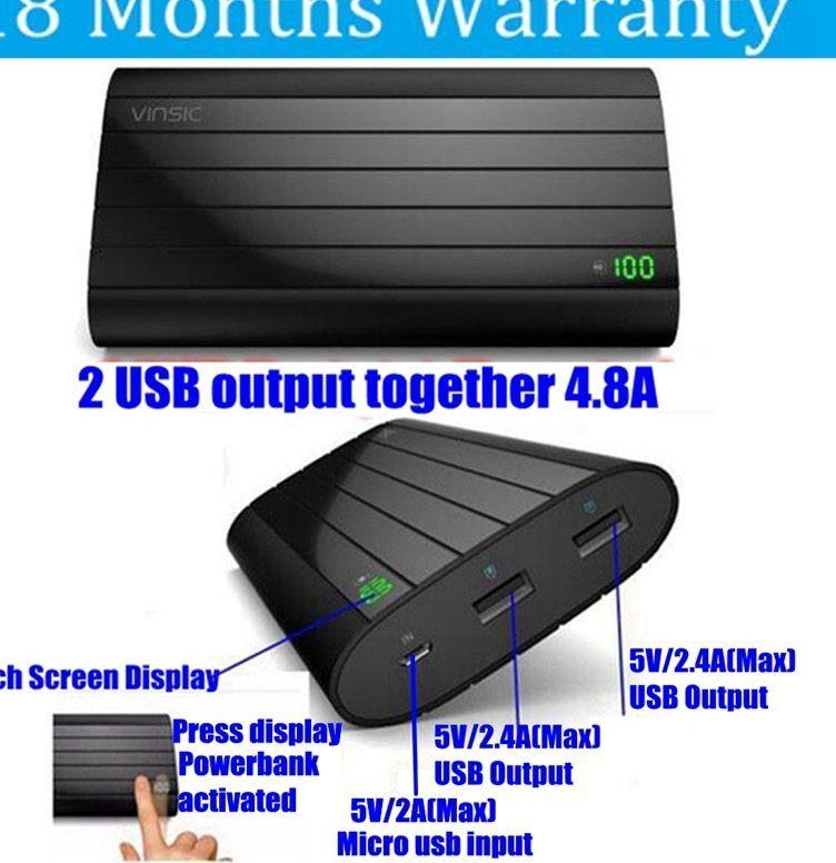 vinsic 20000 mah powerbank bank daya 18650 20000 mah besi p6 4 8a ganda usb display untuk xiaomi samsung ponsel charger