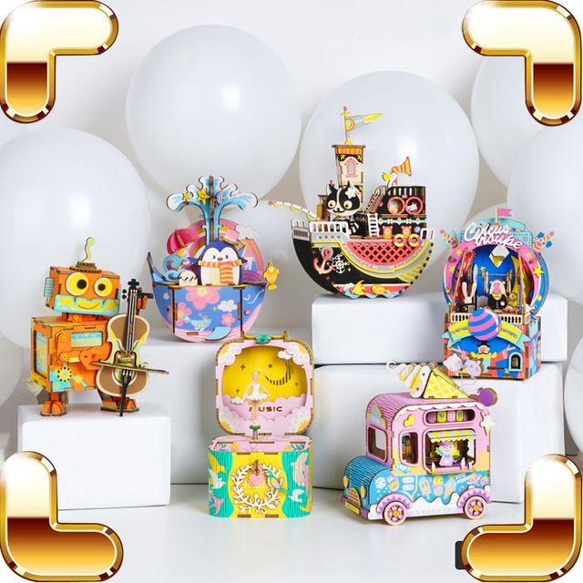 natal hadiah kartun kotak musik 3d teka teki model diy puzzle kayu musik mesin belajar