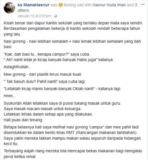 ramai netizen yang marah dan sedih apabila mengetahui cerita sebenar di sebalik kantin sekolah tersebut ada yang baru sedar mengapa anaknya tidak ada