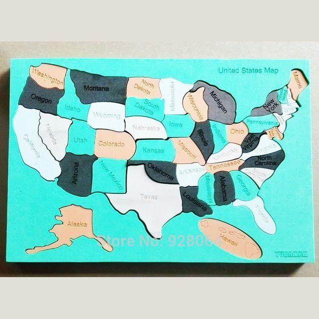 amerika serikat peta 3d teka teki pendidikan bayi mainan untuk anak jigsaw tetris