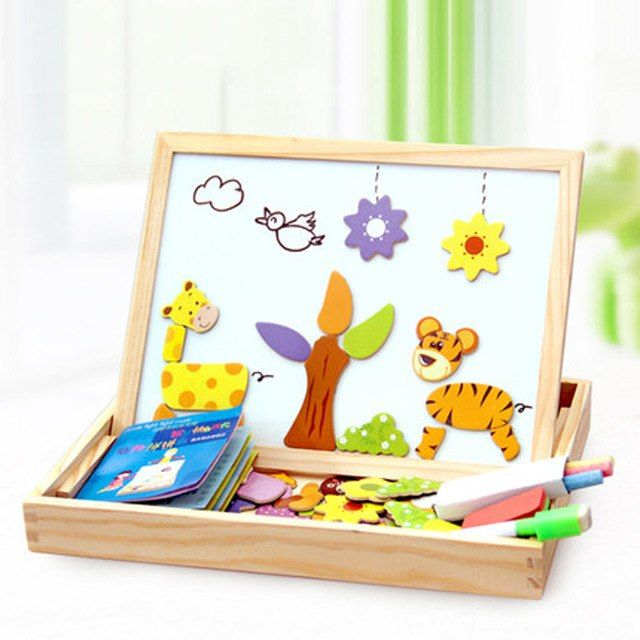 100 pcs kayu puzzle magnetic mainan anak 3d puzzle gambar hewan kendaraan