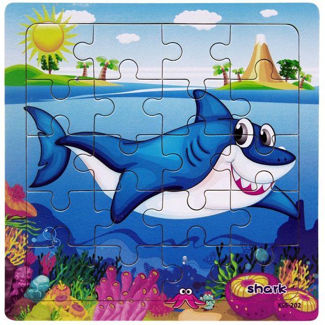 1 pc modern kartun bayi hewan laut puzzle mainan kayu laut ikan hiu kura kura