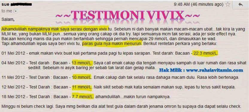 testimoni vivix sebagai rawatan alternatif penyakit kencing manis elak komplikasi