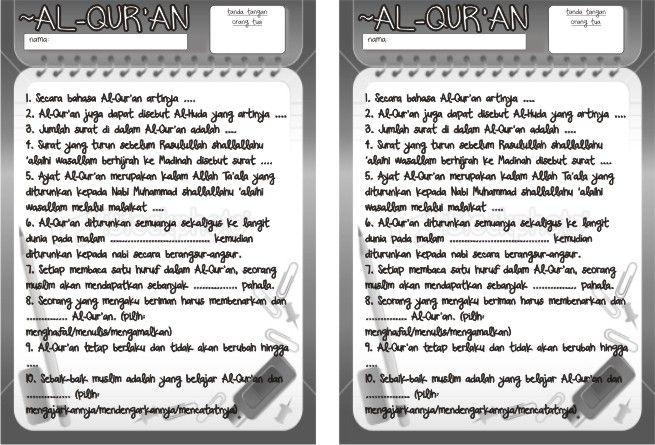 Contoh Teka Teki Tentang Al-quran Yang Baik Untuk Para Murid