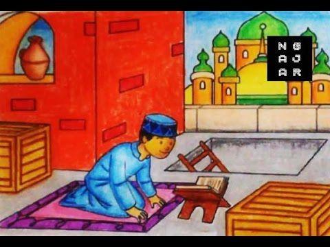 gambar mewarnai muslim masjid dan anak dengan crayon bagus banget youtube