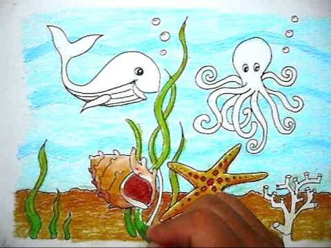 how to color the picture of sea life cara mewarnai gambar kehidupan dalam laut