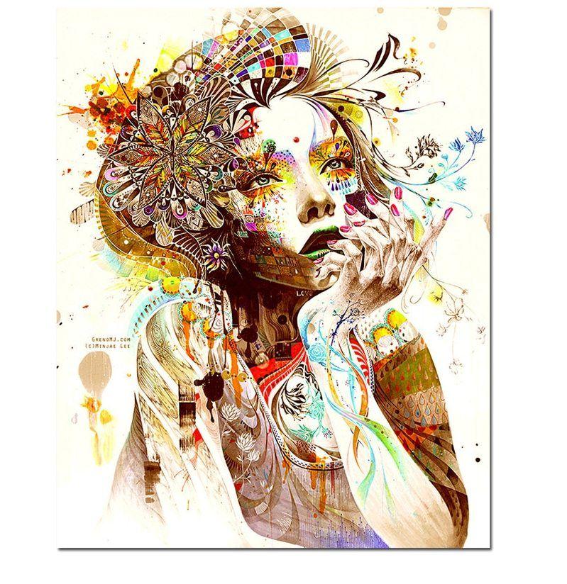 colorful gadis kanvas lukisan gambar dekoratif gambar lukisan abstrak dinding kanvas gambar untuk dekorasi rumah natal