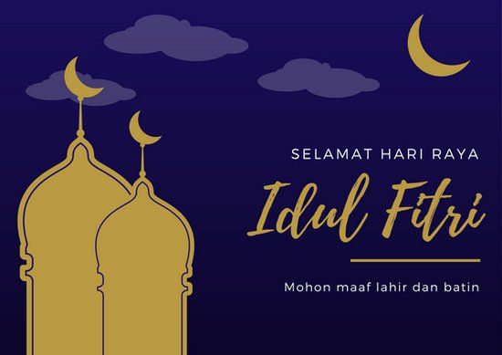 dark blue and gold hari raya idul fitri lebaran card