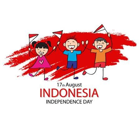 independence day of indonesia hand drawing boy and girl holding flag