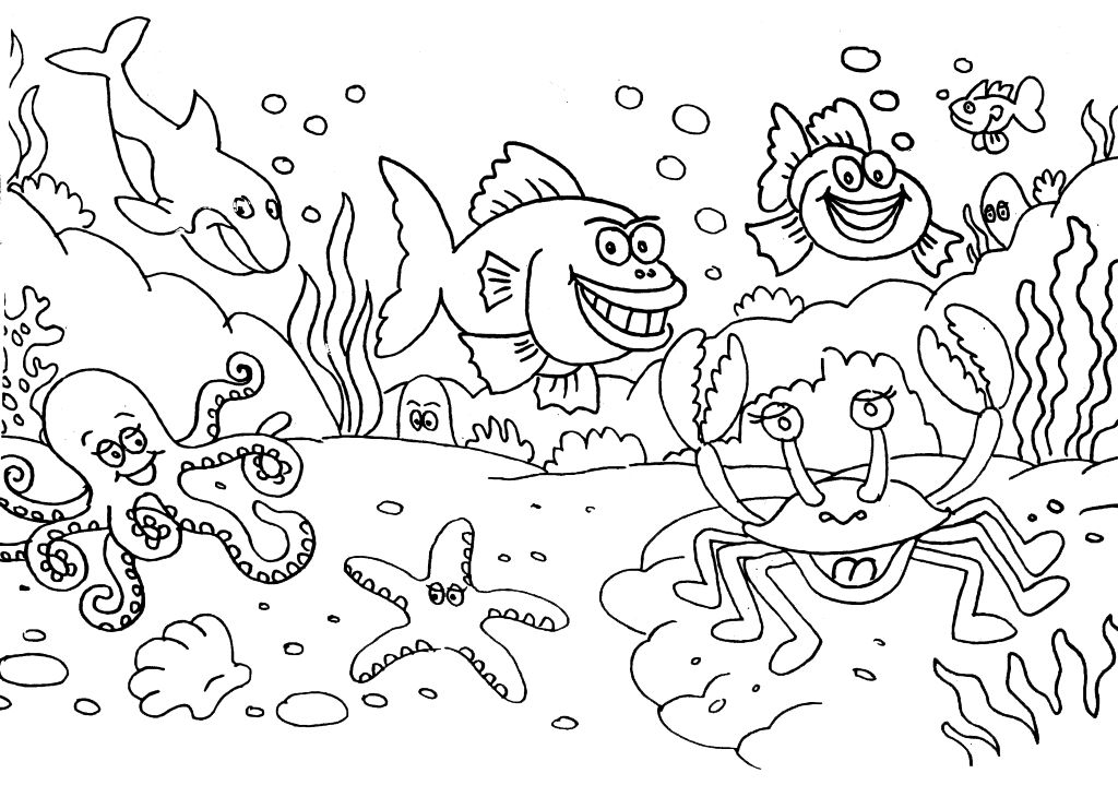 gambar mewarna pemandangan bawah laut