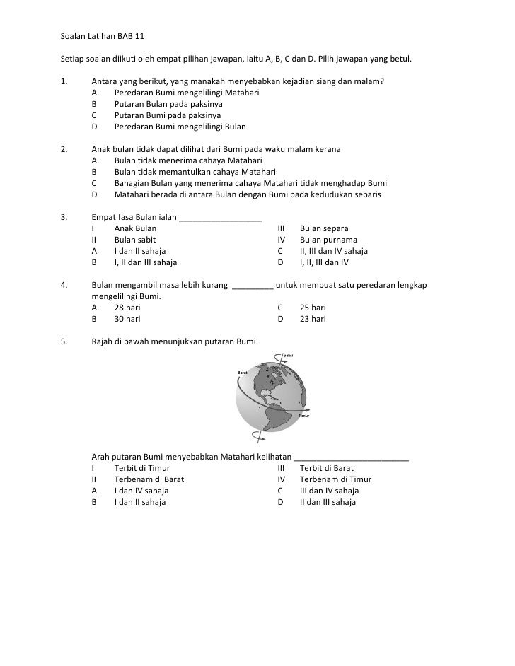Kuiz English Tahun 5 Penting soalan Latihan Unit 11 Bumi Bulan Dan Matahari