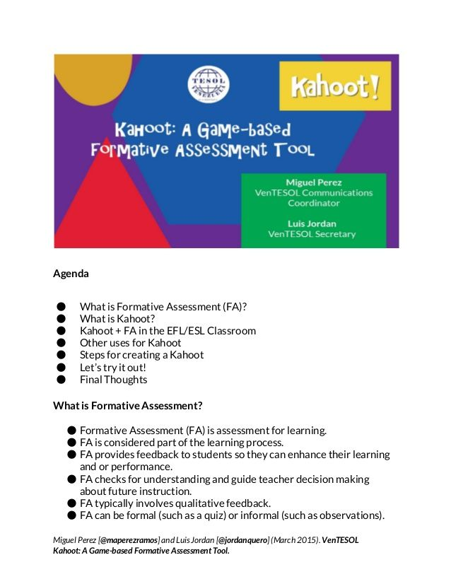agenda a what is formative assessment fa a what is kahoot
