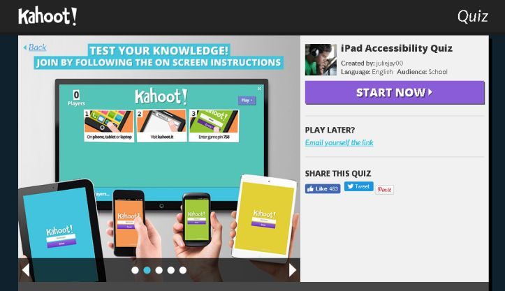 i created a kahoot quiz for some of my low vision students in middle school who are learning to use the ipad as a universal accessibility option for them