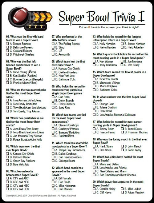 free printable multiple choice super bowl trivia game download and answers at diva girl parties and stuff superbowlparty
