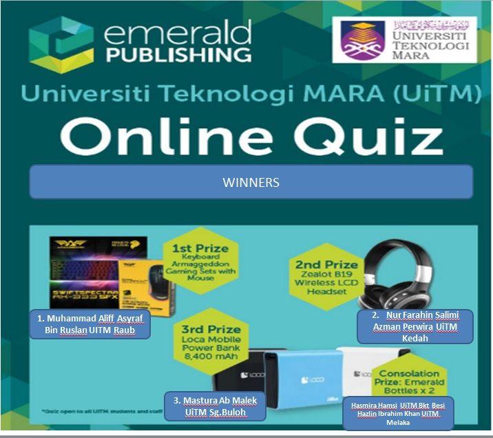 Kuiz Online Meletup Tahniah Pemenang Emerald Online Quiz Uitm 2018 Perpustakaan Uitm