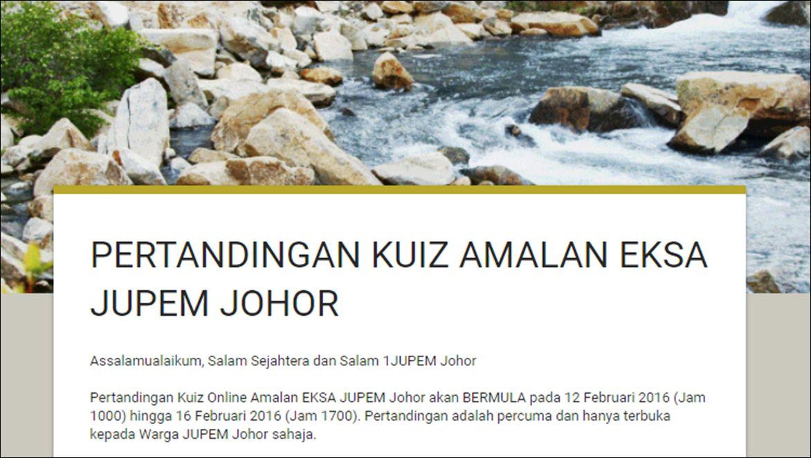 Kuiz Online Terhebat Eksa Promosi Jupem Johor Pertandingan Kuiz Online Amalan Eksa