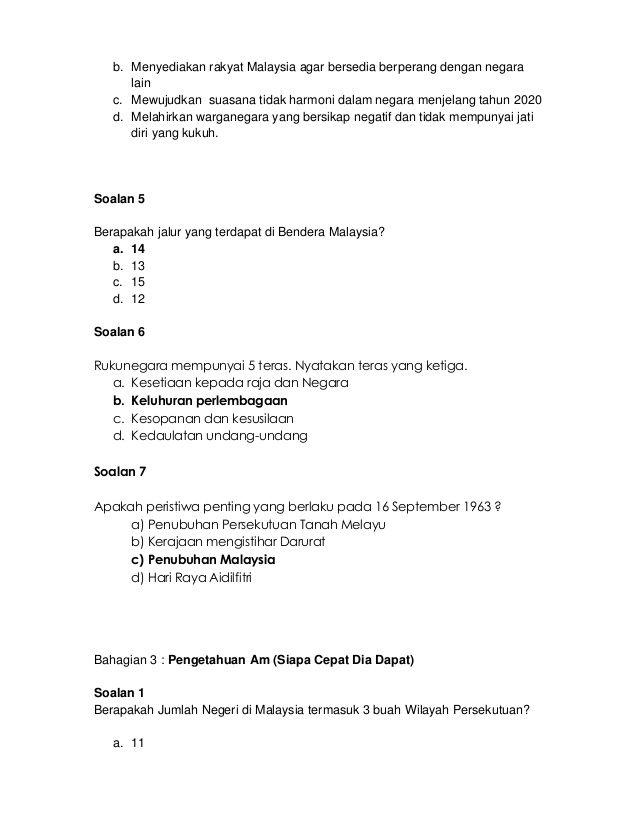 Kuiz Pengetahuan Am Dunia Bernilai 64741727 soalan Kuiz Kenegaraan Merdeka 1
