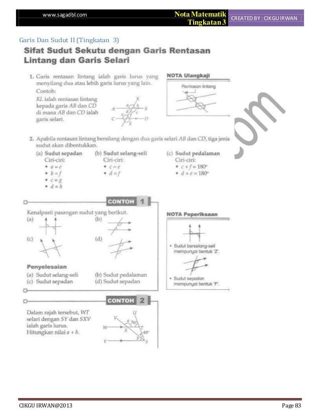 Kuiz Sejarah Tingkatan 3 Bermanfaat Bab 1 Matematik Tingkatan 3 Sudut Dan Garis Ii