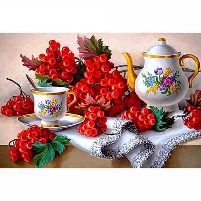 5d diy berlian lukisan bunga cross stitch sendok garpu buah anggur berlian tongkat bor menggambar