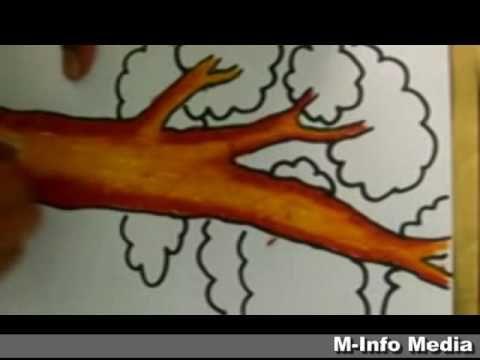 Lukisan Mewarna Pemandangan Bermanfaat Tutorial Mewarnai Pohon Dengan Cara Gradasi Warna Menggunakan Crayon