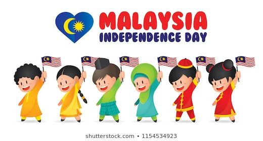 malaysia national independence day illustration cute cartoon character kids of malay indian
