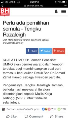beri cuti dan gantung jawatan presiden umno yang dipegang oleh zahid hamidi atau biarkan beliau terus memegang jawatan tersebut dan pergi ke kandang orang