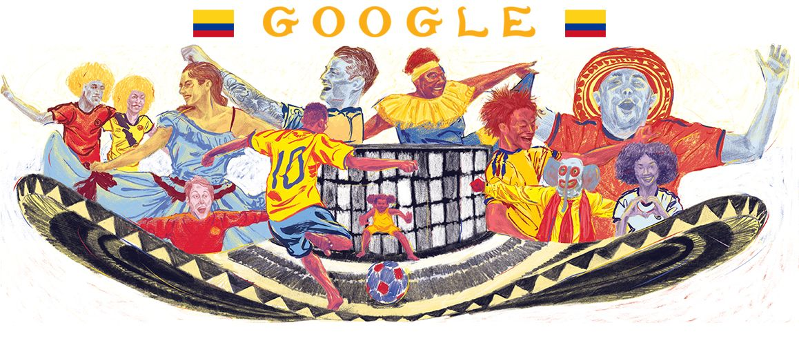 world cup doodle for colombia