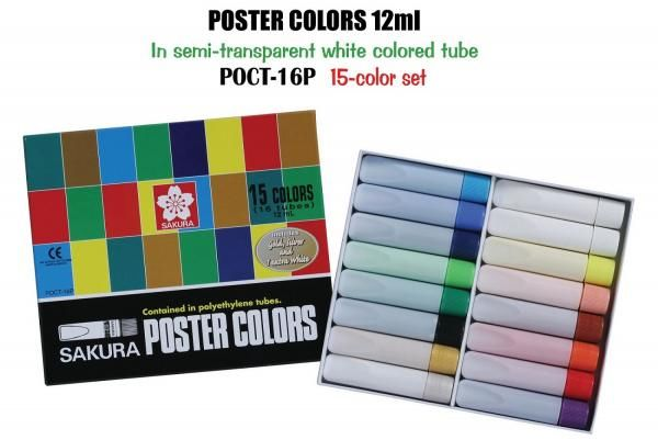 Poster Color Bermanfaat Sakura Poster Colours 12ml 15 Colour