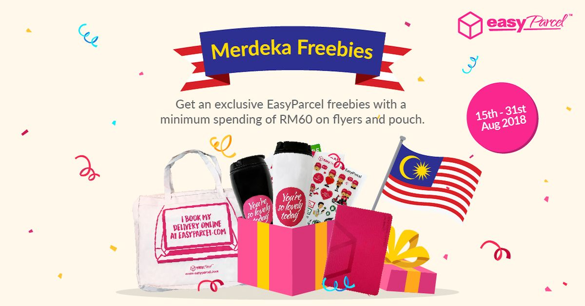 merdeka freebies earn more with a min spending of rm60 on packaging store a easyparcel