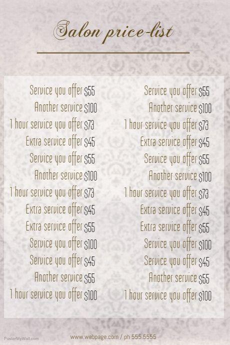 nail salon price list template elegant 50 customizable design templates for price list template