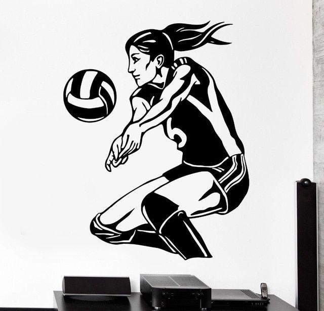 bola voli wanita vinyl stiker dinding olahraga ruang tamu kamar tidur lukisan dinding seni dekorasi rumah