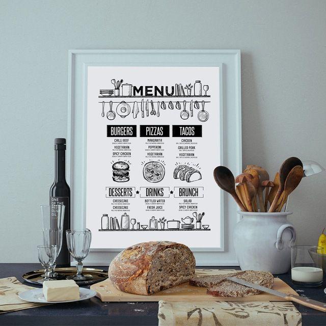 pizza resep makanan brosur dinding art print dan poster tangan ditarik makanan menu kanvas lukisan