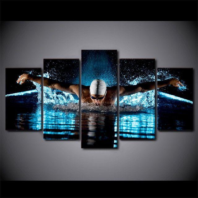 Poster Olahraga Terbaik 5 Pcs Set Framed Hd Dicetak Kupu Kupu Renang Olahraga Modern Home