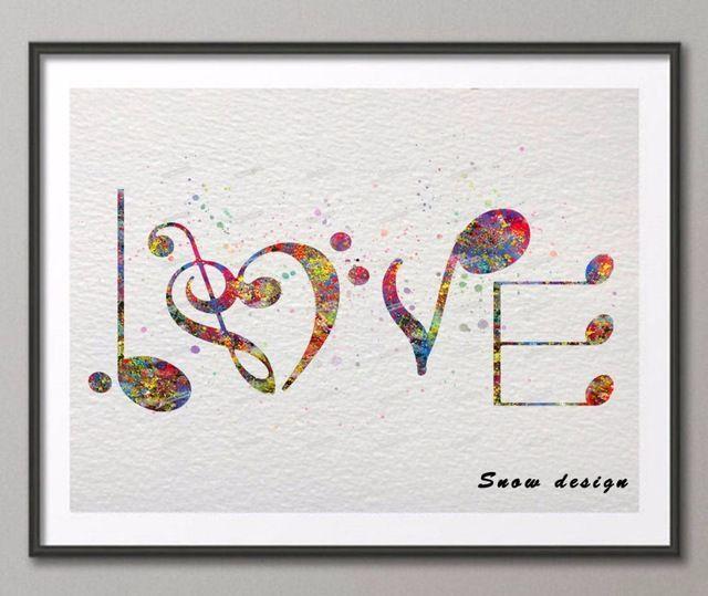 cat air asli musik cinta kanvas lukisan abstrak wall art a4 poster cetak gambar dinding dekorasi