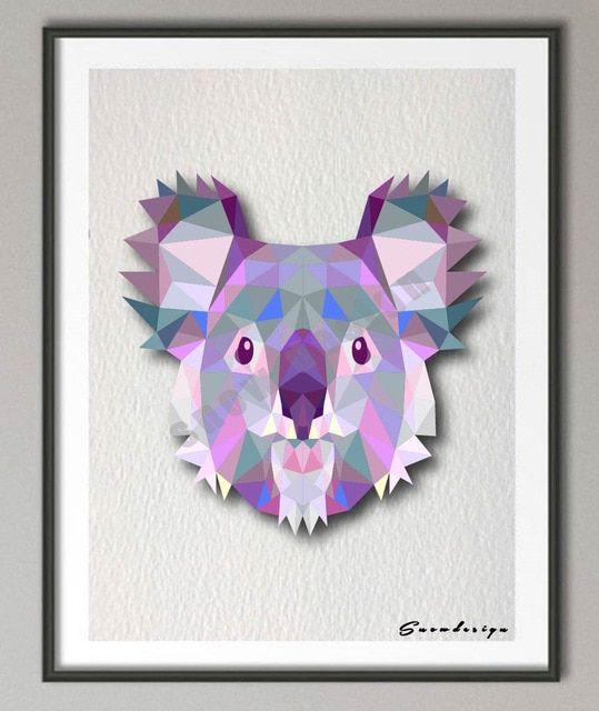 rendah poli geometris karang beruang kanvas lukisan hewan wall art print poster gambar ruang tamu dekorasi