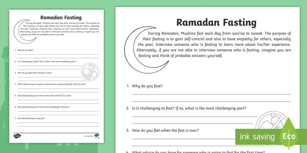 ramadan fasting interview activity sheet social studies 3rd grade 4th grade 5th